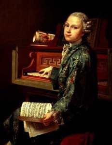 Юный Моцарт за клавесином