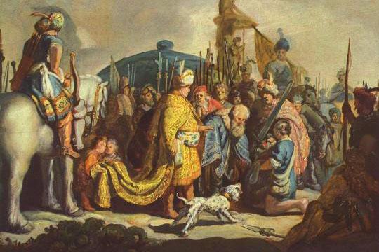 Давид с головой Голиафа перед Саулом