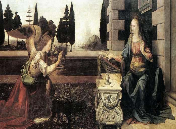Благовещение. Картина Леонардо да Винчи