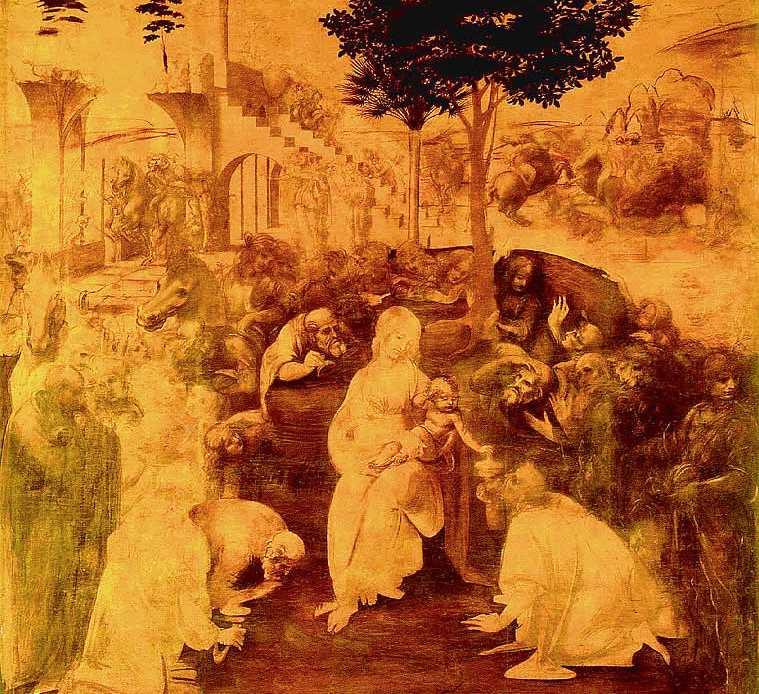 Поклонение волхвов. Картина Леонардо да Винчи